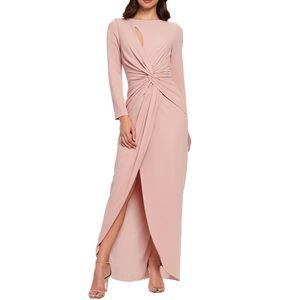 DRESS THE POPULATION Naomi Long Sleeve Twist Gown